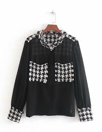 Fashion Black Tweed Stitching Shirt