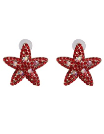 Fashion Red Red Starfish With Stud Earrings