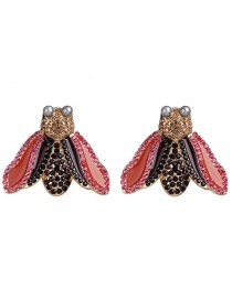 Fashion Red Insect Moth Stud Earrings