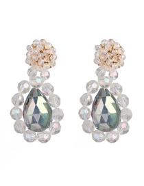 Fashion White Crystal Water Drops Acrylic Earrings
