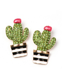 Fashion Green Hand-painted Glazed Cactus With Diamond Stud Earrings