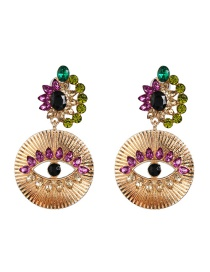 Fashion Gold Micro-drilled Eye Alloy Earrings