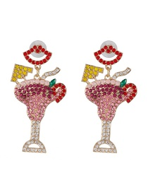 Fashion Color Micro-studded Fruit Wine Glass Earrings