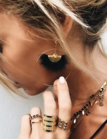 Fashion Gold Fringed Hair Ball Earrings