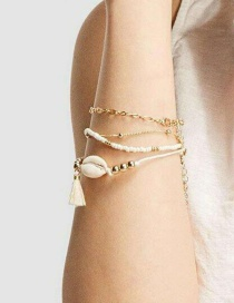 Fashion Gold Woven Shell Bracelet Set