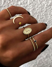 Fashion Gold Moon Star Ring 5 Piece Set