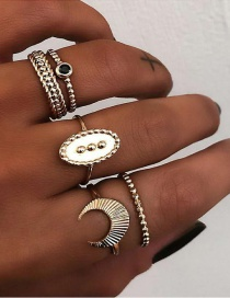 Fashion Gold Moon Ring Set Of 5