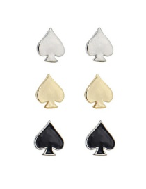 Fashion Gold: Silver And Black Peach Heart Earrings Set