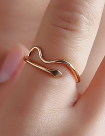 Fashion Gold Serpentine Wavy Open Ring