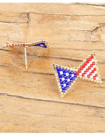 Fashion Color Rice Beads Woven Flag Pattern Earrings  Beads