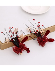 Fashion Red Crystal Bow Hair Clip  Metal
