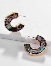 Fashion Color Alloy Natural Abalone Shell Paper Acrylic C-shaped Earrings