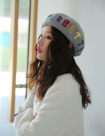 Fashion Gray Velvet Colored Letter Beret