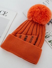 Fashion Orange Double Layer Plus Fluffy Ball Wool Cap