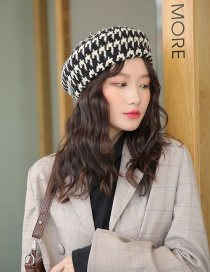 Fashion Black Houndstooth Wool Beret
