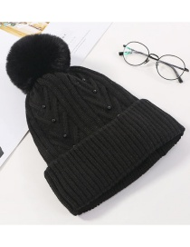 Fashion Black Pearl Wool Ball And Cashmere Cap