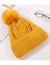 Fashion Yellow Pearl Wool Ball And Cashmere Cap