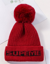 Fashion Red Letter Knit Velvet Thick Wool Hat
