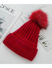 Fashion Red Rabbit Fur Knit Double Plus Fluffy Ball Wool Cap