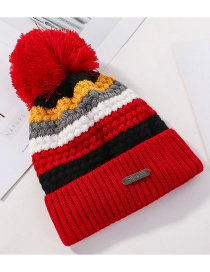 Fashion Red Color Matching Knitted Wool Ball Cap