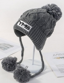 Fashion Gray Letter Knit Plus Velvet Three Hair Ball Wool Cap