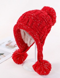 Fashion Red Plus Velvet Three Hair Ball Wool Cap
