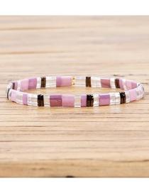 Fashion Purple Square Rice Beads Beaded Bracelet