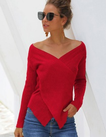 Fashion Red Dotted Openwork Round Neck Sweater