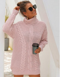 Fashion Pink Thick Needle High Collar Twist Knit Sweater