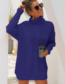 Fashion Blue Thick Needle High Collar Twist Knit Sweater