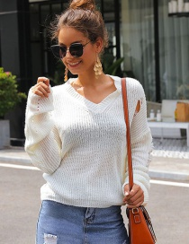 Fashion White V Collar Hole Puff Sleeve Short Sweater