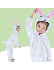 Fashion White Rabbit Conjoined Long Section Animal Cartoon Style Children's Drama Costume