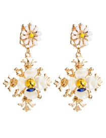 Fashion Yellow Blue Multi-layer Alloy Resin Flower Drop Oil And Diamond Earrings  Alloy