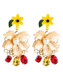 Fashion Red Multilayer Alloy Floral Diamond Acrylic Earrings  Alloy