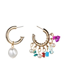 Fashion Color C-shaped Imitation Pearl Turquoise Asymmetrical Earrings  Alloy