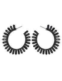 Fashion Black C-shaped Acrylic Diamond Earrings