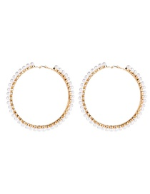 Fashion 6th Gold Big Circle With Pearl Earrings  Alloy