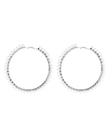 Fashion Silver No. 6 Big Circle With Pearl Earrings  Alloy