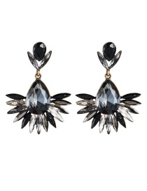Fashion Black Drop-shaped Acrylic Diamond Flower Earrings