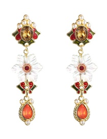 Fashion Red Transparent Petal Pearl Zircon Earrings  Alloy