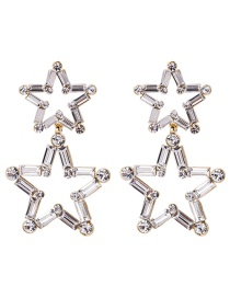 Fashion Gold Three-dimensional Hollow Crystal Five-pointed Star 925 Silver Needle Stud Earrings  Alloy