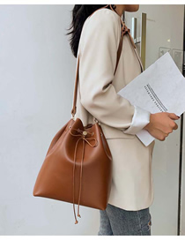 Fashion Brown Drawstring Crossbody Shoulder Bag