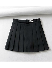 Fashion Black Solid Color Embroidered Pleated A Word Skirt