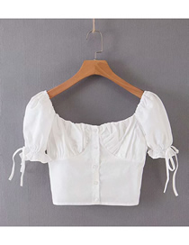 Fashion White Solid Color Bandage Sleeve Front Buttoned Small Shirt