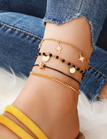 Fashion Gold Geometric Alloy Disc Rice Beads Five-pointed Star 4 Layer Anklet