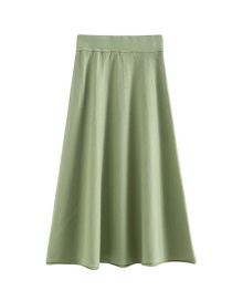 Fashion Green Solid Color Knit Pleated Skirt