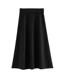 Fashion Black Solid Color Knit Pleated Skirt