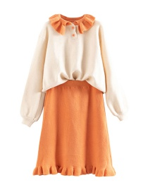 Fashion Orange Contrast Ruffled Sweater Skirt Two-piece Suit