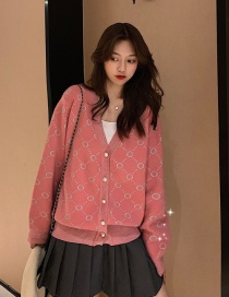 Fashion Red Jacquard V-neck Sweater