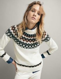 Fashion White Jacquard Contrast Sweater